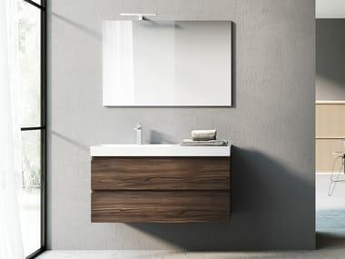 Wall-mounted laminate vanity unit with mirror C72 | Vanity unit