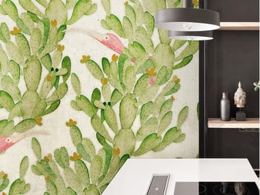 Carta da parati tropicale PVC free, eco-friendly, lavabile CACTUS DREAM