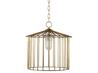 Brass pendant lamp CAGE 01 OUT