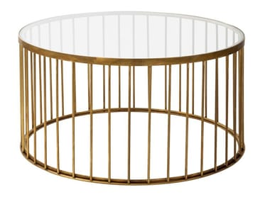 Round brass coffee table CAGE 05