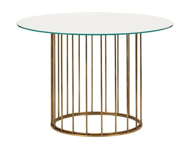 Round brass table CAGE 06