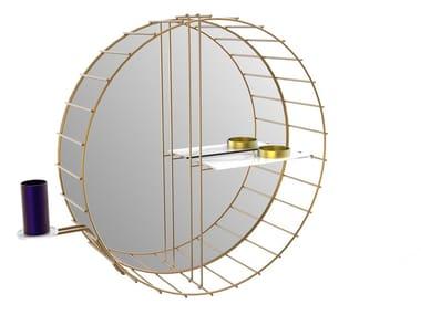 Round brass mirror with shelf CAGE 07 Extra B