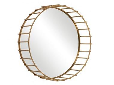 Round framed brass mirror CAGE 07
