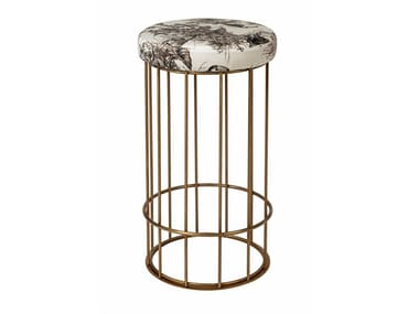 Brass stool with footrest CAGE 09
