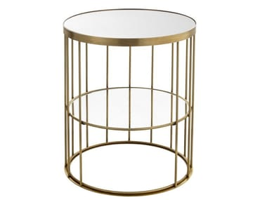Round brass coffee table CAGE 10