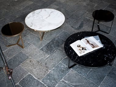 Low round marble coffee table CAGE | Round coffee table