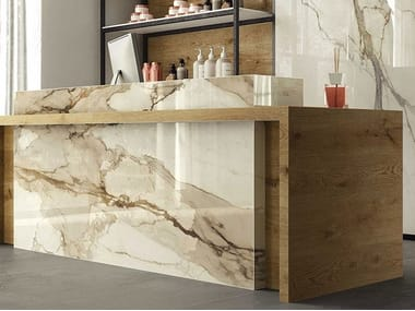 Porcelain stoneware wall tiles with marble effect CALACATTA IMPERIALE