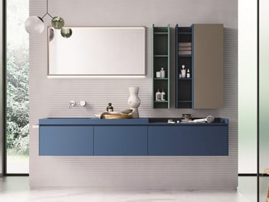 Lacquered wall-mounted vanity unit with drawers CALIX - COMPOSITION XL 02