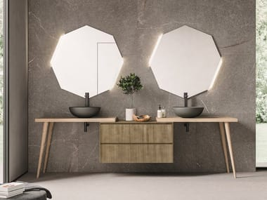 Floor-standing double vanity unit with drawers CALIX - COMPOSITION XL 03