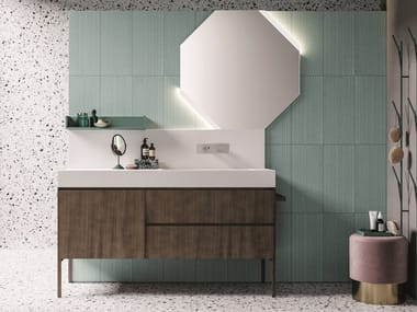 Floor-standing lacquered vanity unit with drawers CALIX - COMPOSITION XL 06