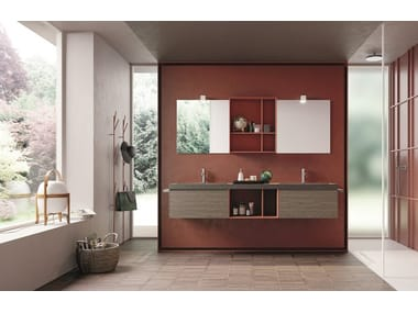 Double wall-mounted HPL vanity unit with drawers CALIX - COMPOSITION XL 07