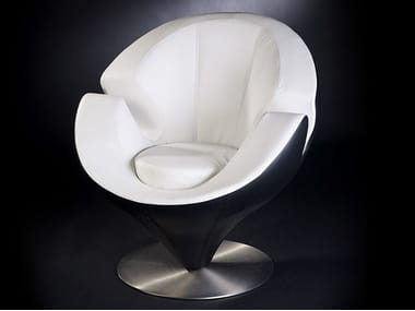 Leather armchair with armrests CALLA