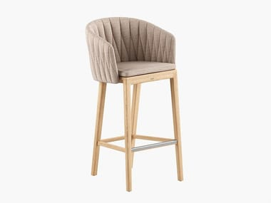 High fabric and teak stool CALYPSO | Stool