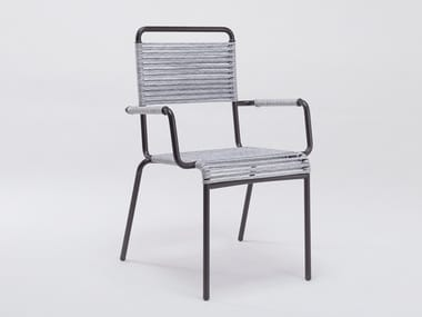 Garden chair with iron armrests and synthetic rope CAMARGUE | Chair with armrests