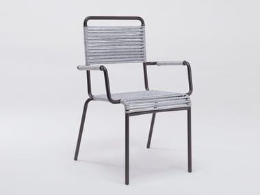 Sedia da giardino con braccioli in ferro e corda sintetica CAMARGUE | Sedia con braccioli