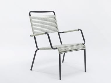 Armchair with iron armrests and synthetic rope CAMARGUE | Easy chair