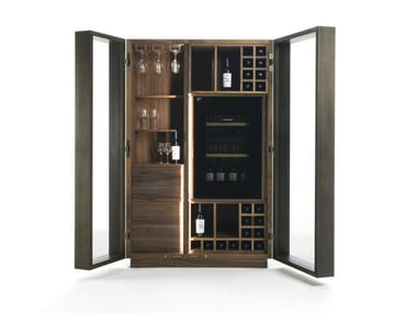 Solid wood bar cabinet with integrated lighting CAMBUSA GLASS