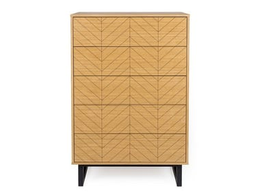 Wood veneer chest of drawers CAMDEN HERRINGBONE | Chest of drawers