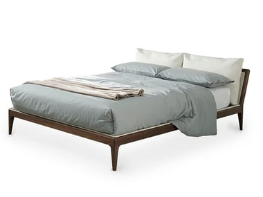 Solid wood double bed with upholstered headboard CAMILLA | Bed