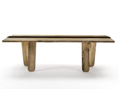 Rectangular solid wood table CANAL | Briccola wood table