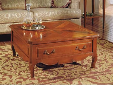 Square Cherry Wood Coffee Table CANALETTO | Low Coffee Table