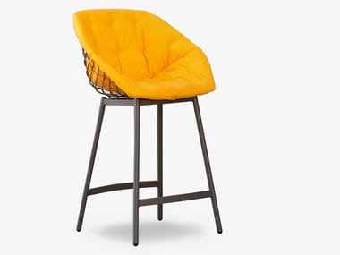 High fabric stool with armrests CANASTA | Stool