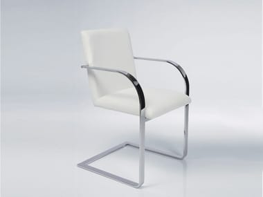Cantilever upholstered fabric easy chair with armrests CANDODO WHITE