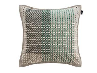 Square fabric cushion CANEVAS GEO GREEN | Square cushion