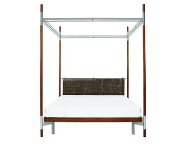 Stainless steel and wood double bed EDWARD | Canopy bed