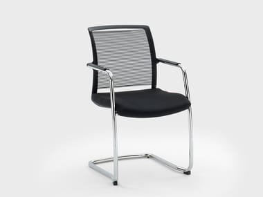 Cantilever fabric chair with armrests WINNER | Cantilever chair
