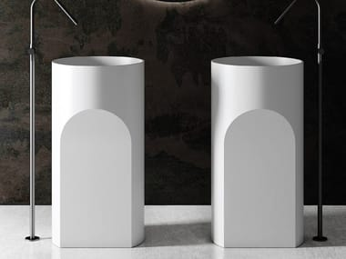 Freestanding round Luxolid® washbasin CANYON FREE