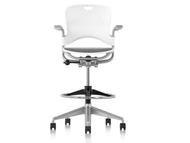 Swivel Nylon® office stool with 5-Spoke base with Armrests CAPER | Office stool with Armrests