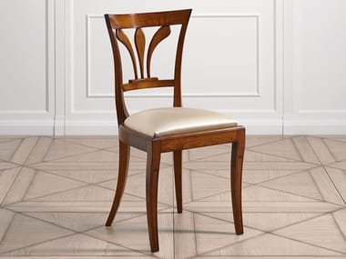 Cherry wood chair with integrated cushion CAPRICCI | Cherry wood chair
