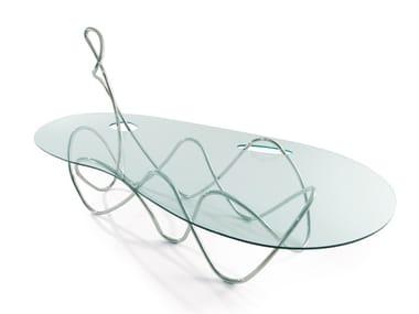 Mesa de acero inoxidable y cristal CAPRICCIO
