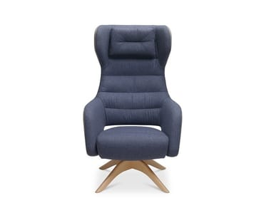 Swivel trestle-based fabric armchair with armrests CAPTAIN HEAVEN SOFT | Fabric armchair