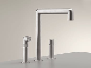 3 hole stainless steel kitchen mixer tap with pull out spray CAR 08