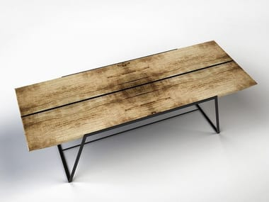 Rectangular cedarwood table CARGO