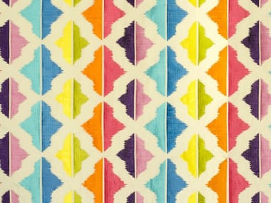 Multi-colored embroidered fabric CARIBBEAN ISLANDS