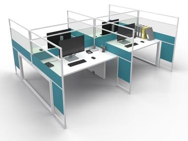 Glass and aluminium desktop partition CARING ASTERISCO CORNICE IN A