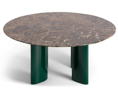 Tavolino rotondo in marmo Dark Emperador CARLOTTA | Tavolino in marmo Dark Emperador