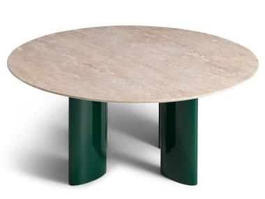 Tavolino rotondo in travertino CARLOTTA | Tavolino in travertino