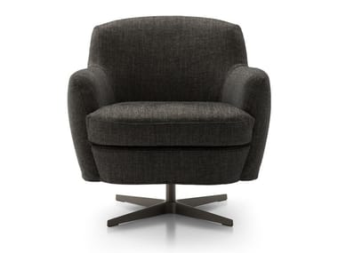 Swivel fabric armchair with 4-spoke base with armrests CAROL | Fabric armchair