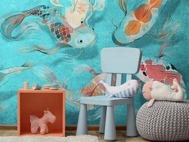Ecological washable PVC free wallpaper CARPTOON