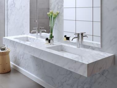 Double Carrara marble washbasin with integrated countertop CARRARA C2 | Double washbasin