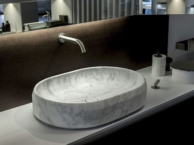 Countertop oval Carrara marble washbasin LARIANA   Carrara marble washbasin