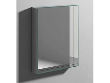Rectangular wall-mounted mirror with cabinet CARRÈ