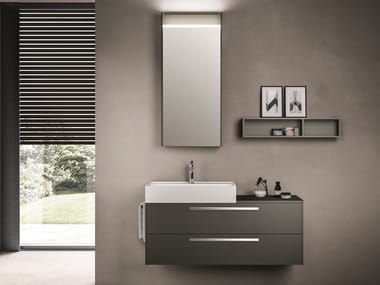 Wall-mounted wood-product vanity unit with drawers CARTABIANCA   Wood-product vanity unit