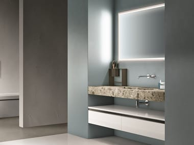 Lacquered vanity unit with drawers with mirror CARTABIANCA   Vanity unit with drawers