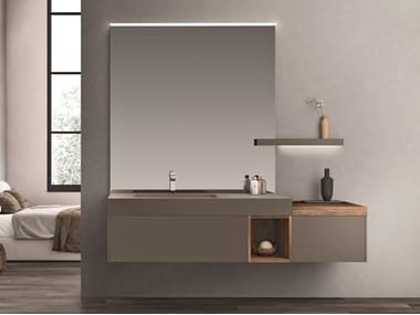 Wall-mounted vanity unit with drawers with mirror CARTABIANCA   Vanity unit with mirror