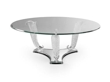 Tavolino rotondo in vetro CASANOVA | Tavolino basso